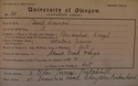 David Cannan, Matriculation Slip 1881-82