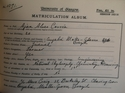 Ajax Alves Correa's matricualtion Slips 1915-1916