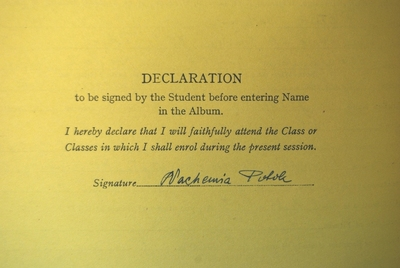 Nachemia Potok, Matriculation signature 1938-39