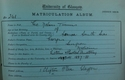 George Nelson Turner, Matriculation Slip 1888-89