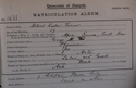 Robert Lister Turner, Matriculation Slip 1892-93