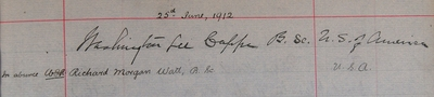 Washington Lee Capps, graduation signature, DSc 1912