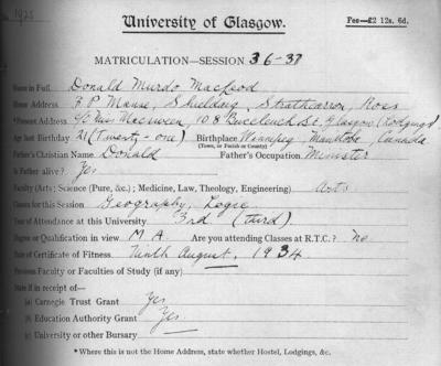 Donald Murdo MacLeod, matriculation slip 1936-37
