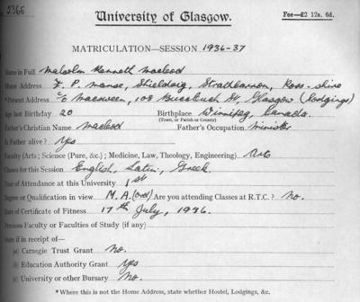 Malcolm Kenneth McLeod, matriculation slip 1936-37