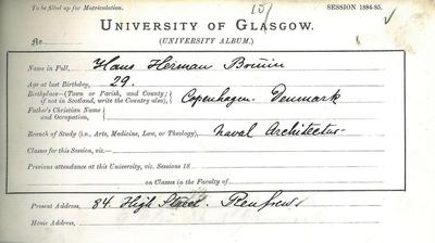 Hans Herman Bruin matriculation slip summer 1885