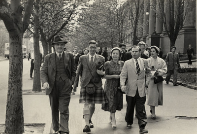 Professor Rodger and Edwin Morgan in Kiev, as part of the 1955 VOKS delegation from Scotland.