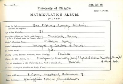 Ada Hitchins Matriculation slip