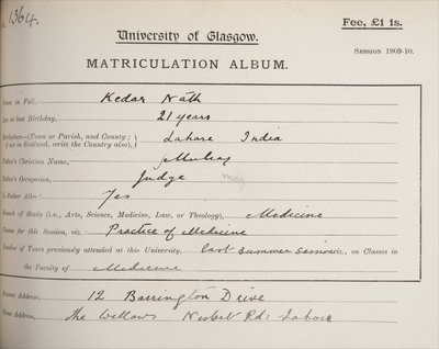 Kedar Nath, matriculation 1909-10