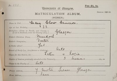 Mary Clow Cameron, matriculation slip 1898-99