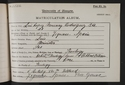 Luis Lopez Murray Rodriguez , matriculation slip 1904-05