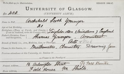 Archibald Scott Younger, matriculation slip 1886-87