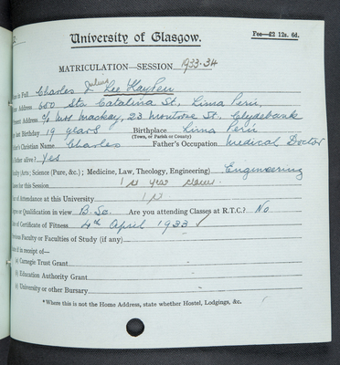Charles Julius Lee Kay Pen matriculation 1933-34