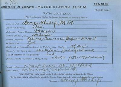 George Philip's matriculation slip