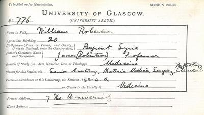 William Robertson Matriculation Slip 1885-86