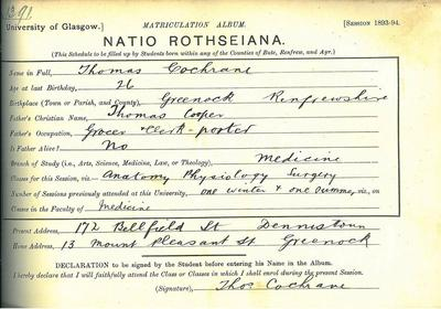 Thomas Cochrane matriculation slip 1893-94