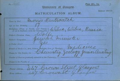 Morris Kantrovitch matriculation slip 1898-99