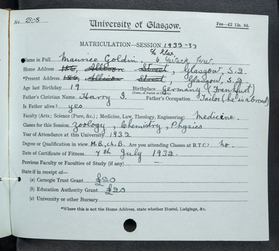 Maurice Goldin, matriculation slip 1932-33