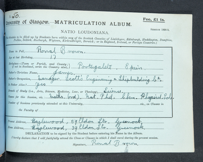 Ronal Brown, matriculation slip 1908-09