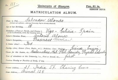 Salvador Alonso, matriculation slip 1913-14