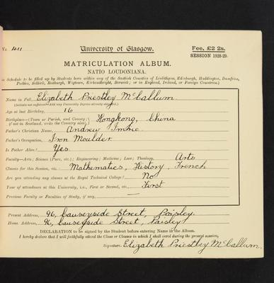 Elizabeth Priestly McCallum matriculation slip 1928-29