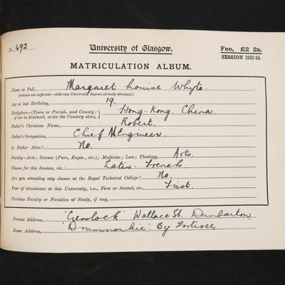 Margaret Louise Whyte matriculation slip 1923-24