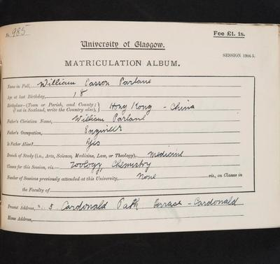 William Casson Parlane matriculation slip 1904-05