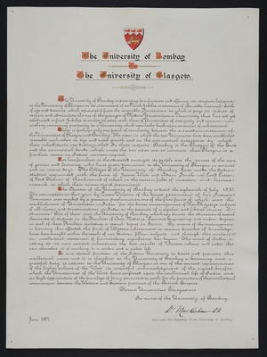Congratulatory Address from the University of Bombay, 1901