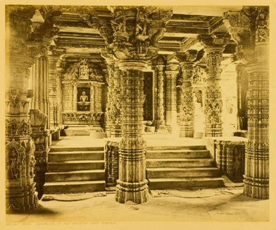 interior of Luna Vasahi Jain Temple, Dilwara, Mount Abu, Rajasthan, India, c. 1870s