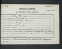 Walter Brown matriculation slip 1904-05