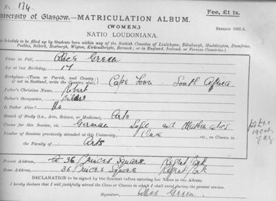 Alice Green matriculation slip 1905-06