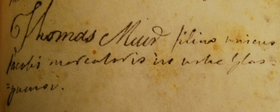 Thomas Muir Matriculation 1777,  GUA26678 p.145