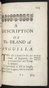 Chapter-title page for Anguilla in A Description of the Island of Jamaica (p. 115)