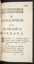 Chapter-title page for Barbuda in A Description of the Island of Jamaica (p. 117)