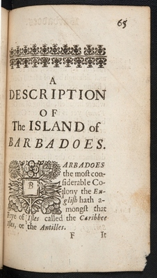 Chapter-title page for Barbados in A Description of the Island of Jamaica (p. 65)