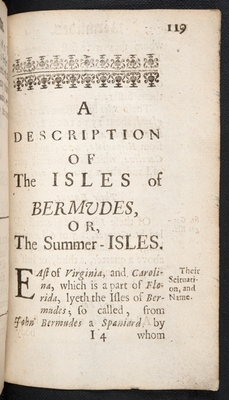Chapter-title page for Bermuda in A Description of the Island of Jamaica (p. 119)