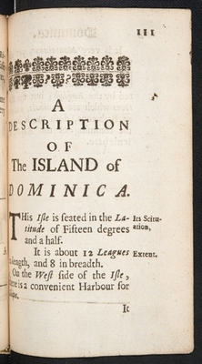 Chapter-title page for Dominica in A Description of the Island of Jamaica (p. 111)