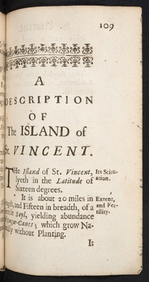 Chapter-title page for St Vincent in A Description of the Island of Jamaica (p. 109)