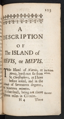 Chapter-title page for Nevis in A Description of the Island of Jamaica (p. 103)