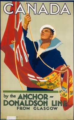 Poster advertising Anchor-Donaldson Line voyages to Canada rom Glasgow