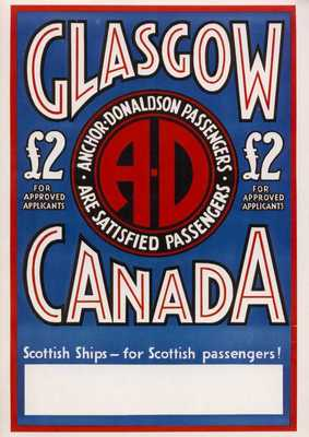 Poster advertising Anchor-Donaldson Line £2 tickets for emigration to Canada