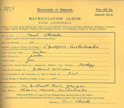 Paul Chiaski, Matriculation 1925-1926 (R8/5/46/2)
