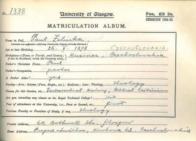 Paul Zelinka, Matriculation 1924-1925 (R8/5/45/3)