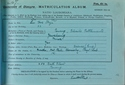 Thye Matriculation Slip 1911-1912