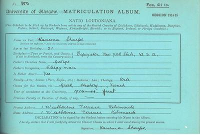 Kanema Sharpe, Matriculation Slip 1914-15