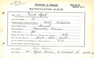 David Hynd, Matriculation Slip 1913-14