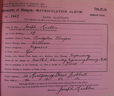 Jospeh Macklin Matriculation Slip 1919-20