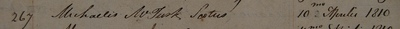 Michael McTurk signature, MD 1810