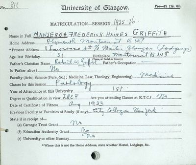 M F H Griffith, matriculation slip 1935-36