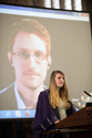 Edward Snowden on a video-link to the Bute Hall