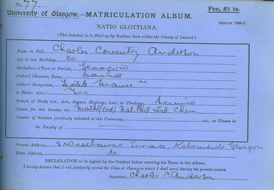 Charles Coventry Anderson, matriculation slip 1908-09